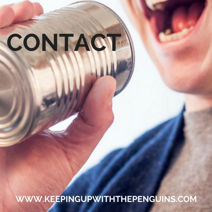 Contact - black text overlaid on an image of a person speaking into a tin can - Keeping Up With The Penguins