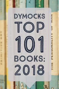 Dymocks Top 101 Books of 2018 - text in a speech bubble overlaid on a background of teal and green Penguin books - Keeping Up With The Penguins