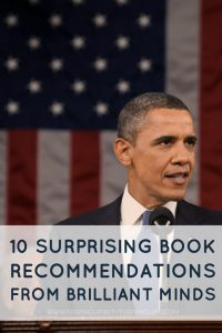 10 Surprising Book Recommendations From Brilliant Minds - text overlaid on an image of Barack Obama standing in front of an American flag - Keeping Up With The Penguins