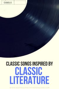 Songs Inspired By Classic Literature - Blue and Black Text Beneath an Image of a Vinyl Record - Keeping Up With The Penguins