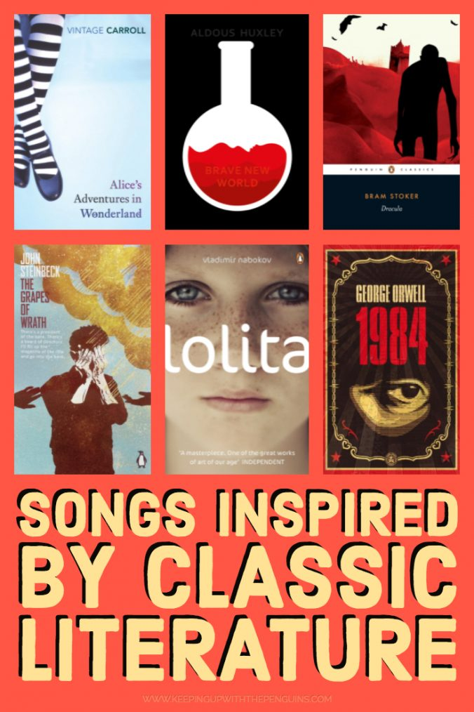 Songs Inspired by Classic Literature - Book Covers and Text on Orange Background - Keeping Up With The Penguins