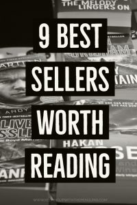 9 Best Sellers Worth Reading - Text Overlaid on Black and White Image of a Stack of Books - Keeping Up With The Penguins