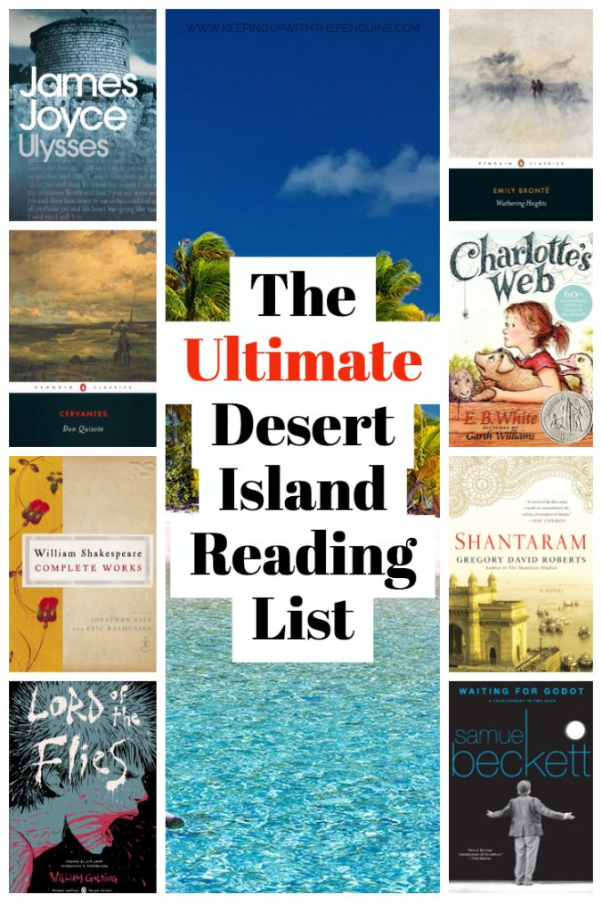 The Ultimate Desert Island Reading List - Book Covers and Image of Island and Shoreline - as voted by Keeping Up With The Penguins