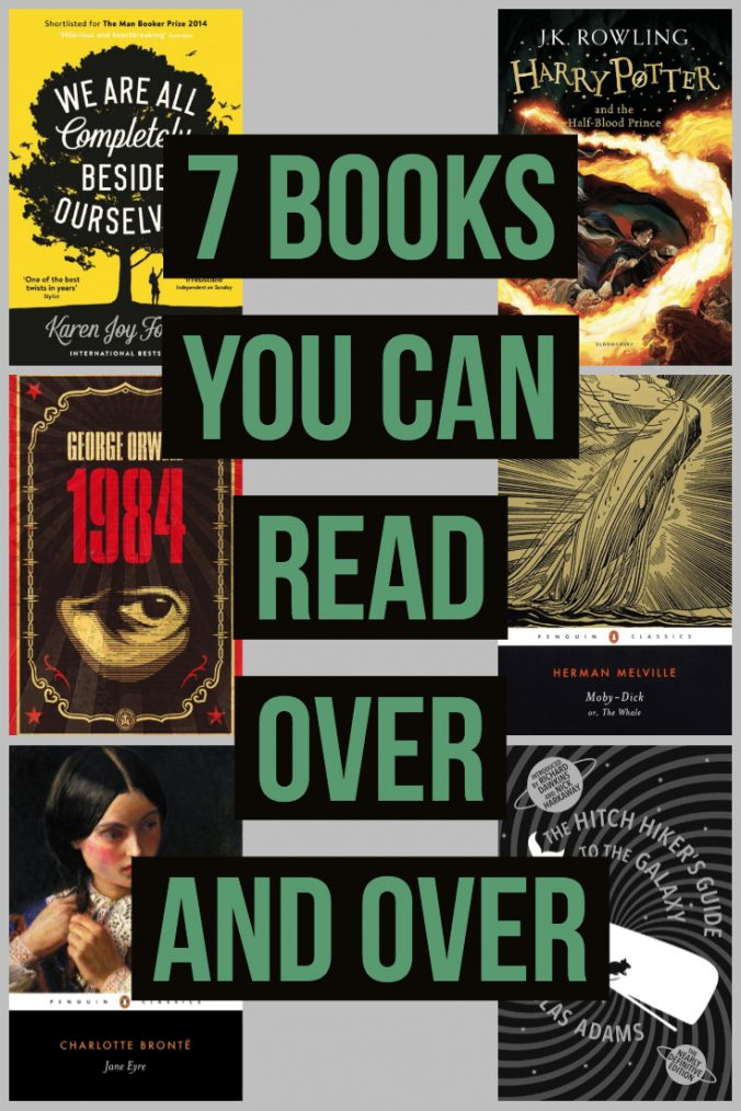 7 Books You Can Read Over And Over - Words in Green and Black over a Grey Background with Book Covers - Keeping Up WIth The Penguins
